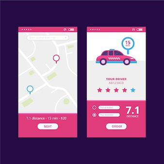 Taxi app-interface thema