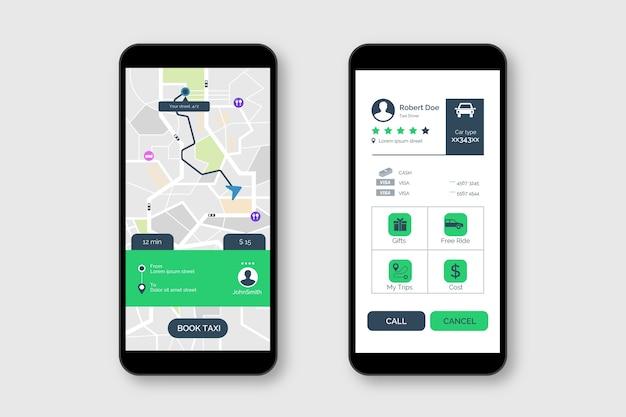 Taxi applicatie-interface stijl