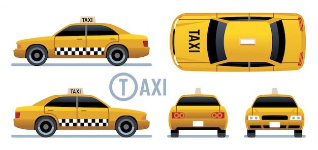 Taxi auto. gele cabine zicht vanaf zijkant, voorkant, achterkant en bovenkant. cartoon stadstaxi set