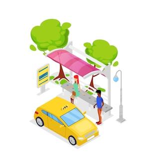 Taxi auto stop isometrische 3d-pictogram