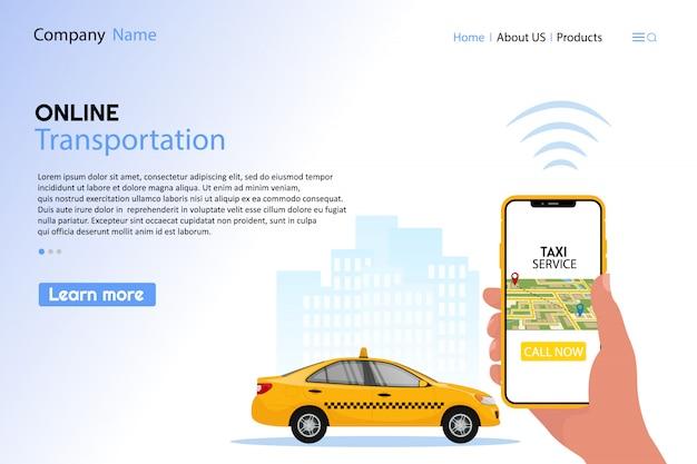 Taxi bestellen app concept. hand met smartphone met online service mobiele applicatie en bel nu knop in de buurt van gele taxi.