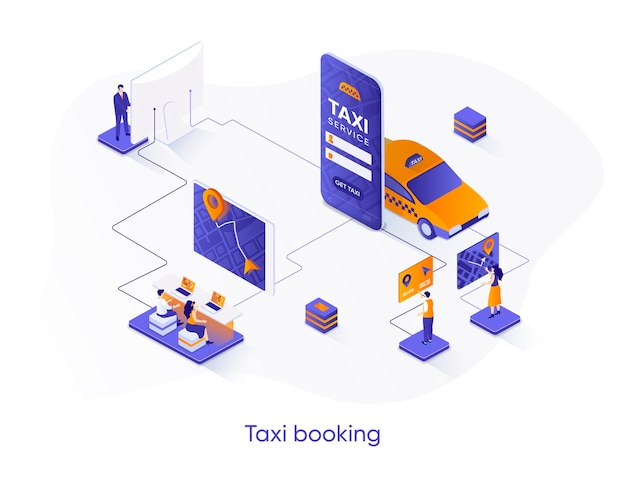 Taxi boeken isometrische illustratie met personagekarakters