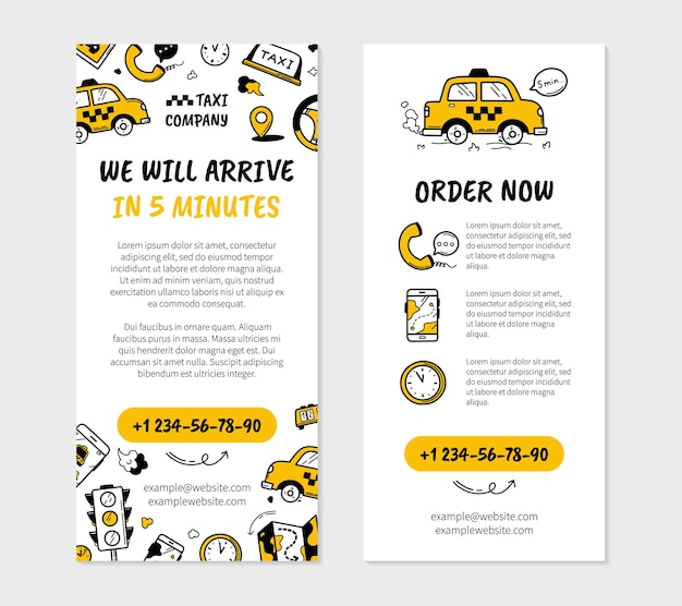 Taxi business flyer in doodle stijl