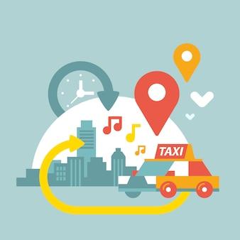 Taxi en stad