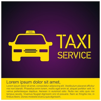 Taxi icon taxi service 24 uur serrvice gele taxi auto paars achtergrond