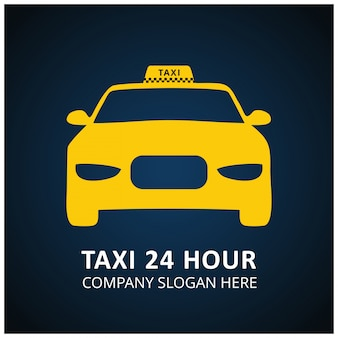Taxi icon taxi service 24 uur serrvice taxi auto blauwe en zwarte achtergrond