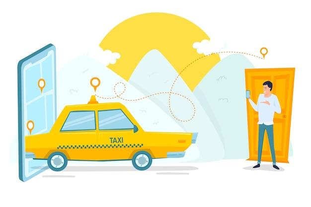 Taxi mobiele app-service en klant