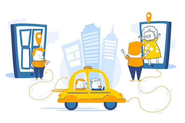 Taxi mobiele app-service in een stad