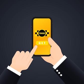Taxi online banner. taxi nemen. mobiele app. vector op geïsoleerde achtergrond. eps-10.