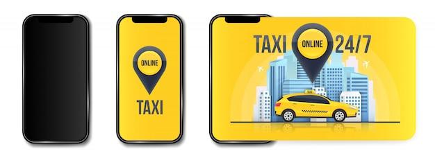 Taxi online service banner, stedelijke stad wolkenkrabbers