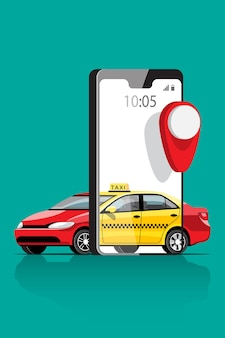 Taxi online service met een kaart