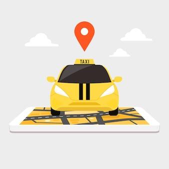 Taxi op gigantische smartphone met stadsplattegrond op scherm.