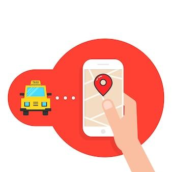 Taxi-oproep via mobiele applicatie. concept van forenzentaxi, gebruiksvriendelijk, reis, rijden, nfc, overdracht, doorvoer, tour. vlakke stijl moderne logo ontwerp vectorillustratie op witte achtergrond