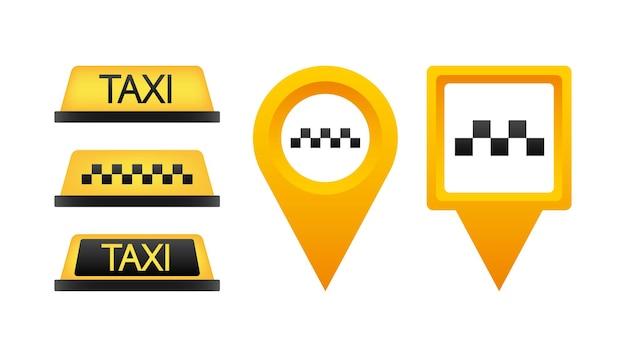 Taxi plat dak bord. pictogrammenset taxi teken op blauwe achtergrond. taxiteken op het dak van auto. vector illustratie.