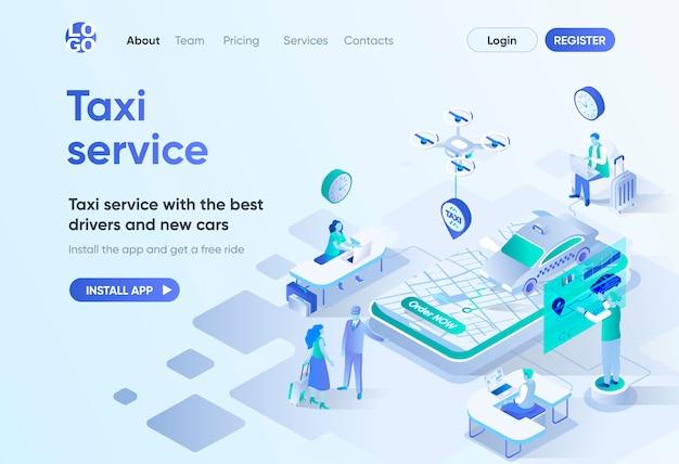 Taxi service isometrische bestemmingspagina. beste chauffeurs en nieuwe auto's, stadstransfer, personenvervoer. online taxi-bestelsjabloon voor cms en websitebouwer. isometriescène met personages.