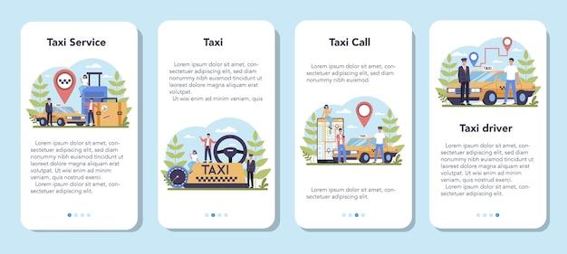 Taxi service mobiele applicatie banner set. gele taxiauto. automobielcabine met chauffeur erin. idee van openbaar stadsvervoer. geïsoleerde vlakke afbeelding