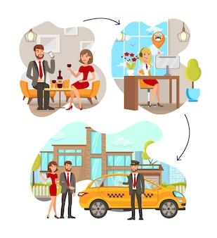 Taxi service stappen platte vectorillustraties instellen