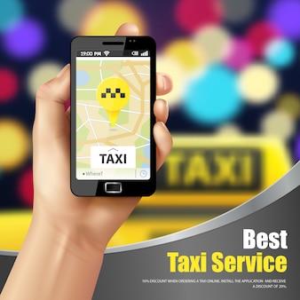 Taxi service toepassing advertentie