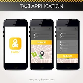 Taxi toepassingssjabloon voor mobiel