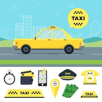 Taxi traservicensportation service en tools set
