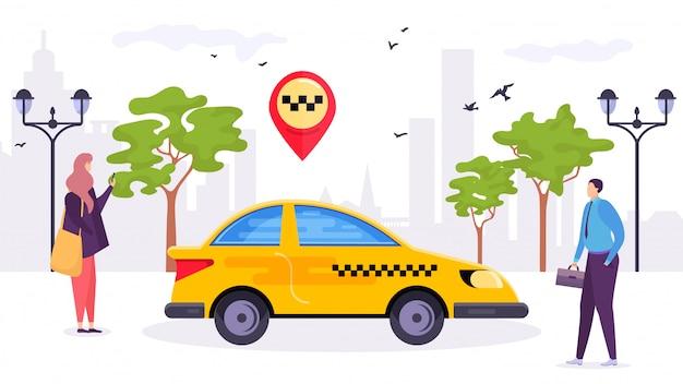 Taxiauto bij stad, de vervoersdienstillustratie. vervoer in de taxi man vrouw passagier in de buurt van verkeer. stedelijk reizen