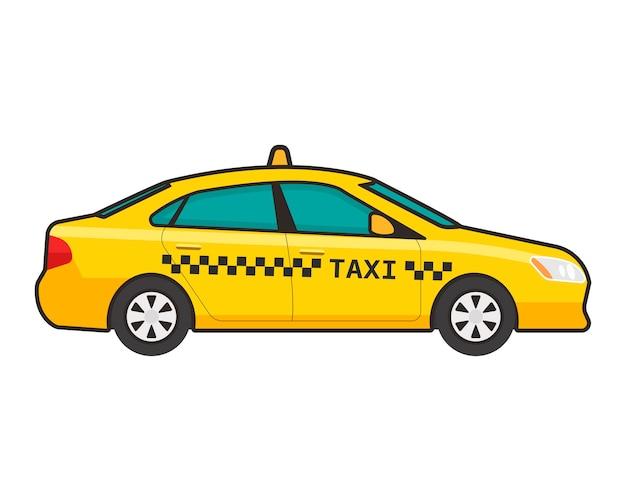 Taxiauto in vlakke stijl