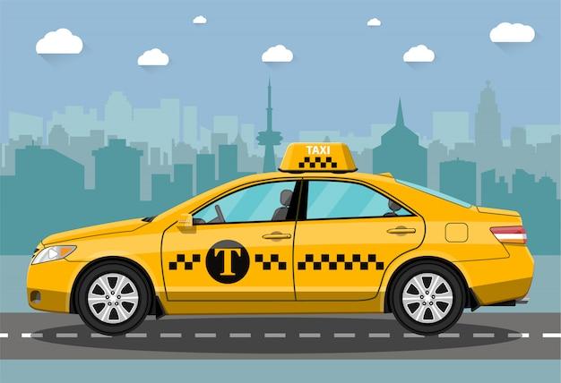 Taxiauto op stadsachtergrond