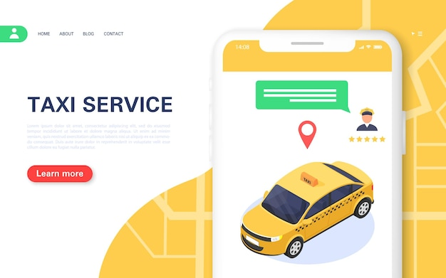 Taxibanner. mobiele applicatie voor het online bestellen van een 24-uurs taxi. keuze van chauffeur en chat met klantenondersteuning. isometrische vectorillustratie.