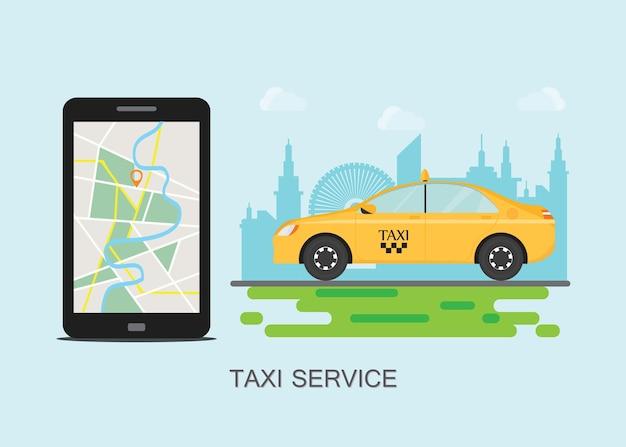 Taxicabine en mobiele telefoon met kaart op stadsachtergrond