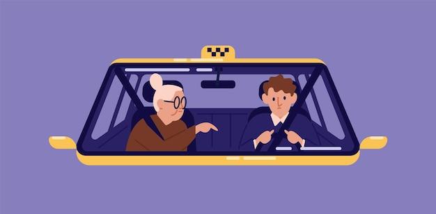 Taxichauffeur en oudere vrouw zitten voorin de cabine en praten met hem gezien door de voorruit. oude dame of oma met behulp van autoservice. platte cartoon kleurrijke vectorillustratie.