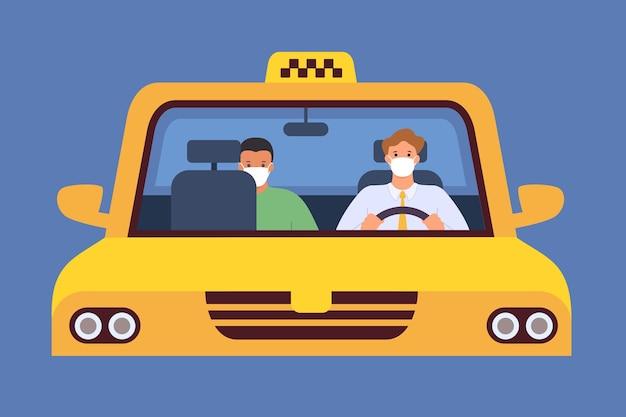 Taxichauffeur in masker. virusbescherming in taxiservice. passagier zit op afstand. chauffeur en cliënt in taxi, nieuw normaal vectorconcept illustratie taxichauffeur in maskerverkeersvoertuig