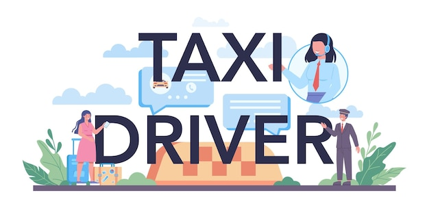 Taxichauffeur typografische koptekst