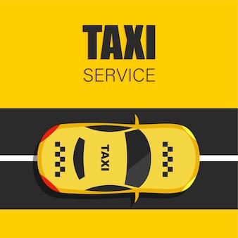 Taxiservice in trendy vlakke stijl. gele taxi en weg bovenaanzicht.