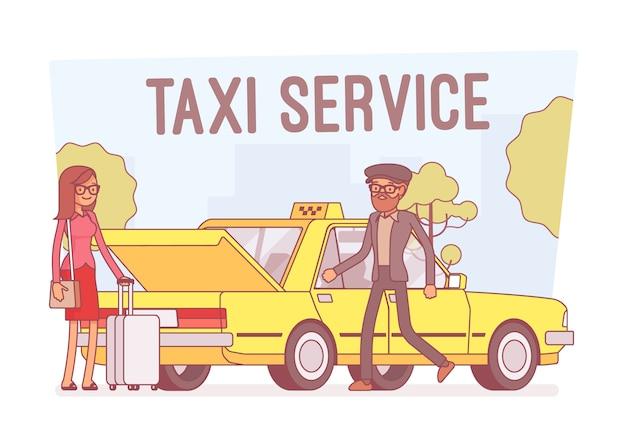 Taxiservice, lijn kunst illustratie