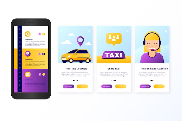 Taxiservice onboarding app schermconcept