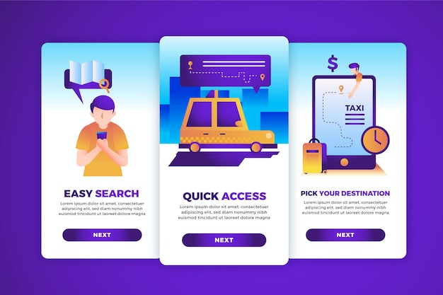 Taxiservice onboarding app schermen pack