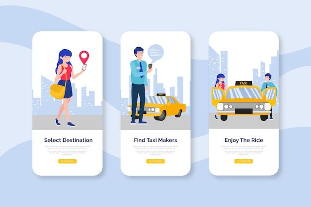 Taxiservice onboarding app-schermen
