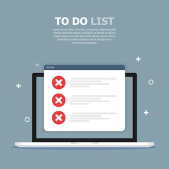Te doen keuzelijst wordt afgebeeld in computer op blauwe sjabloon