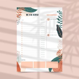 Te doen lijst planner sjabloon met bladeren