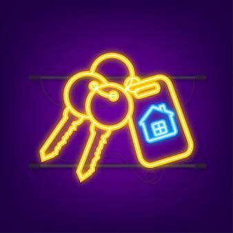 Te huur huis, concept. makelaar heeft de sleutel van het huis. neon-stijl. vector illustratie.