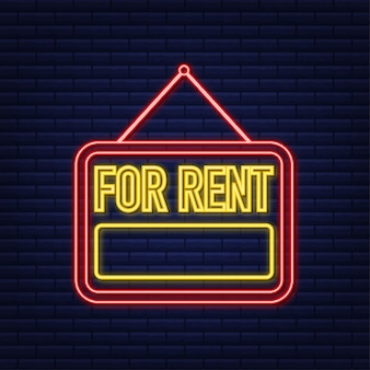 Te huur rood neonteken op blauwe achtergrond. huis, onroerend goed, huur. vector stock illustratie