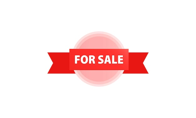 Te koop label, banner. definitieve verkoop sjabloon voor spandoek rood. vectoreps 10. geïsoleerd op witte achtergrond.