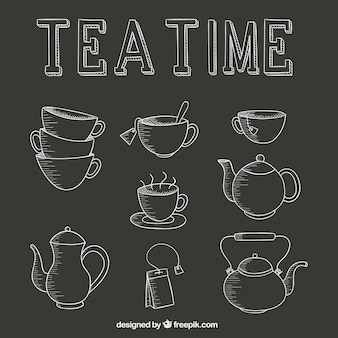Tea time icons set