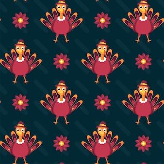Teal achtergrond versierd met bloemen en cartoon turkije vogels illustratie.