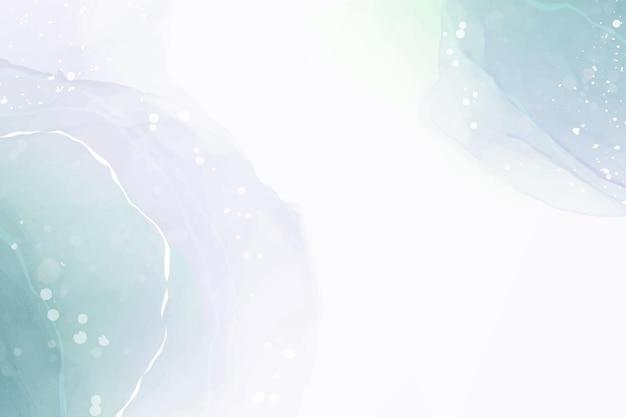 Teal blauw en mint gekleurde vloeibare aquarel achtergrond met gouden vlekken en stippen. luxe minimaal turquoise handgetekende vloeibare alcoholinkt tekeneffect. vector illustratie ontwerpsjabloon.