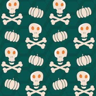 Teal groene zeshoek patroon achtergrond versierd met schedel, gekruiste knekels en pompoenen.