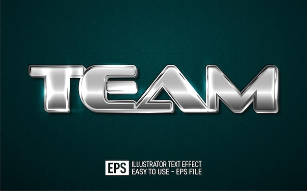 Team 3d-tekst bewerkbare stijleffectsjabloon