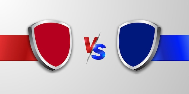 Team a versus team b, rood versus blauw clubschild embleem vlaglogo voor sport, voetbal, basketbal, uitdaging, toernooi