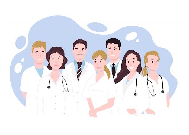 Team artsen. gelukkige mensen. vectorillustratie in vlakke stijl