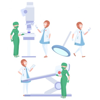 Team artsen op een witte achtergrond